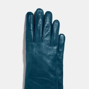 Coach Lambskin Leather Teal Cashmere Lined Gloves